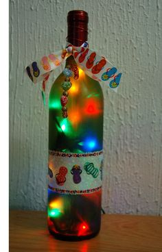 Wine bottle light flipflops home decor by LightBottlesByVicki, $25.00