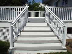 Grey and white decking with white vinyl railing looks great on any deck. At greatrailing.com we offer cheap vinyl railing and decking. Creating your dream deck couldn't be any easier! Contact us today for more info on how this can be done!