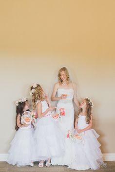 #FlowerGirls | I'll bet they were SO excited! See this Lakeside Taboo Resort Wedding on SMP:  http://www.StyleMePretty.com/canada-weddings/ontario/muskoka/2014/01/28/lakeside-taboo-resort-wedding/ Rowell Photography