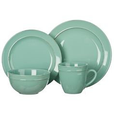 Seafoam Olivia 16-pc. Dinnerware Set ($70) ❤ liked on Polyvore featuring home, kitchen & dining, dinnerware, stoneware bowl, stoneware dinnerware sets, stoneware salad plates, stoneware dinnerware and stoneware dinner plates