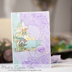 Love this magical card that Evgenia Petzer created using the new Enchanted Garden collection. Such soft beautiful colors. #BoBunny, #cards @Evgenia Petzer