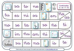 Se trata de diferentes juegos de la oca para aprender a leer que se pueden descargar e imprimir, dedicados a sílabas y palabras con P, L, M, S, N, T, Ñ Familia Y Cole, Elementary Spanish, Spanish Lessons, Learn To Read, Board Games, Projects To Try, Teaching, School, Amelie