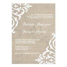 Rustic Burlap Damask Vintage Wedding Invitation