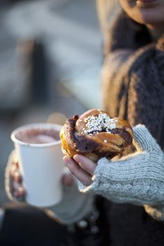 Coffee. Pastry. Scarf/gloves. Cozy!