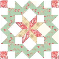 "18"" Morning Star block tutorial from Little Miss Shabby/Corey Yoder"