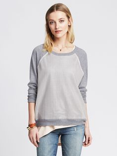 Add some edge to a classic pullover with faux-leather details. $79.50;Banana Republic.   - Redbook.com