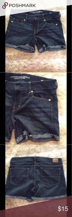 Size 14 super stretch American Eagle shorts Size 14 super stretch American Eagle shorts. These do have a lot of stretch. I bought off Poshmark but they didn't fit me :( wish I was able to wear them. American Eagle Outfitters Shorts Jean Shorts