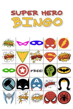 Free Printable Superhero Bingo, perfect for birthday parties! | Fireflies and Mud Pies