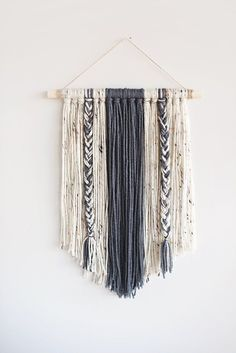 Yarn Wall Hanging Boho Decor - Decorative Interior Tapestry Bedroom Wall Decor N., Yarn Wall Hanging Boho Decor - Decorative Interior Tapestry Bedroom Wall Decor Nursery Room Bohemian Art Decor - GRAY x 24 inch - Dorm inspo - Bohemian Art, Décor Boho, Boho Diy, Bohemian Interior, Bohemian Tapestry, Bohemian Homes, Bohemian Style, Felt Wall Hanging, Hanging Flower Wall