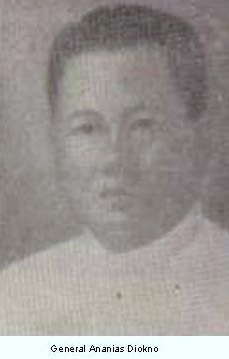 Ananias Diokno was born on Jan. 22, 1860 in Taal, Batangas Province. He distinguished himself against the Spaniards in the Batangas-Laguna-Tayabas zone.     On April 28, 1899 President Emilio Aguinaldo appointed him as the civil and military governor of Capiz Province. He undertook guerrilla warfare against the Americans on Panay Island.