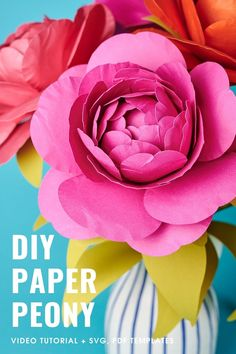 Create gorgeous paper peonies with my special SVG DXF PDF templates and step-by-step video tutorial. Convenient instant download! Paper Flower Patterns, Paper Flowers Craft, Flower Crafts, Butterfly Template, Flower Template, Diy Paper, Paper Crafts, Paper Peonies, Paper Bouquet