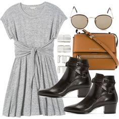 A fashion look from May 2016 featuring Rebecca Taylor dresses, Yves Saint Laurent ankle booties and Givenchy shoulder bags. Browse and shop related looks.