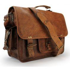 "Ledertasche Notebooktasche 15"" in Handarbeit gefertigt + gratis Lederpflege BALLISTOL - Riemen"