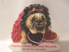 ZELDA BULLDOG MAGNET LOVE CHOCOLATE HEART OF CANDY WITH RED BOA