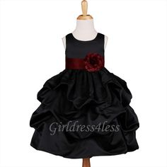 BLACK/BURGUNDY WINE FORMAL  PICK UP FLOWER GIRL DRESS 6M 12M 18M 2 4 6 8 10 12
