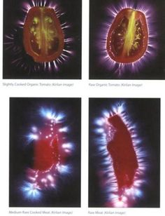 Interesting right? Kirlian Photography....look at the energy around the Raw Organic tomato. #Beautiful....and so full of life.