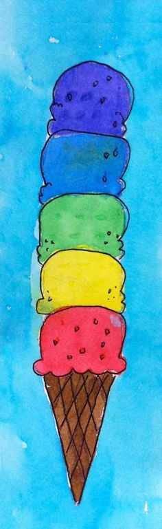 Ice Cream Cone Painting - Art Projects for Kids