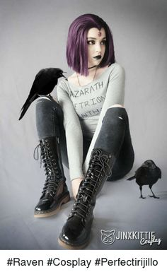 Casual Raven from Teen Titans Cosplayer: JinxKittie Cosplay Inspired on the fanart by:Gabriel Picolo Dc Cosplay, Cosplay Anime, Cosplay Raven, Raven Teen Titans Cosplay, Cosplay Casual, Cute Cosplay, Cosplay Makeup, Amazing Cosplay, Cosplay Outfits