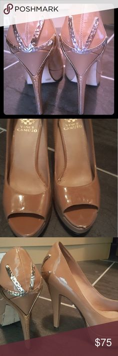 Vince Camuto Pumps Nude pumps with sassy gold details, a definite head turned in any crowd! There are scuffs on both toes that are nothing major and can be seen in photos. Vince Camuto Shoes Heels