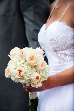 white hydrandea and blush garden rose wedding bouquet by Reynolds Treasures