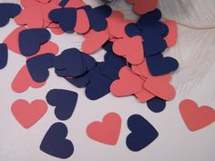 Coral and Navy Wedding Table Scatter or Teeny Tiny Gift Tags -150 Pieces - 1.5 Inch Hearts - Invitation Stuffer Confetti - Party Decorations...