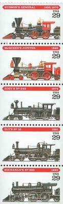 1994 29c Locomotives, Pane of 5 Scott 2843-47 Mint F/VF NH