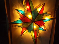 Vintage Lighted Christmas Tree Topper / Lighted Star Christmas Tree Top / Stain Glass Star / Original Box / Kurt Adler by jandhcollectibles on Etsy Christmas Tree Tops, Xmas, Stained Glass Studio, Tree Toppers, Vintage Lighting, Gift Ideas, Lights, The Originals, Box