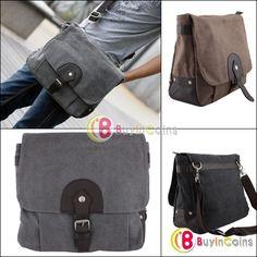 Casual Fashion Men Cool Canvas Shoulder Messenger Book Bag Schoolbag Hangbag -- BuyinCoins.com