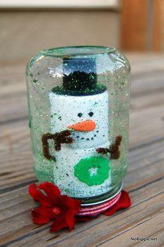 Good use for empty baby food jars Snowglobes NoBiggie.net  Festive holiday kid craft: Baby food jar snow globe