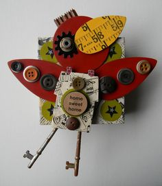 """""""Cardinal-Home Sweet Home""""-Recycled art collage by jen hardwick    www.flickr.com/photos/redheadhardwick"""