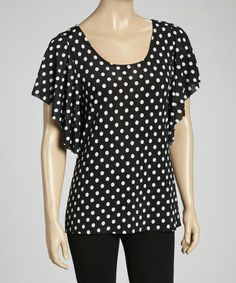 Take a look at this Black & White Polka Dot Angel-Sleeve Top by Star Vixen on #zulily today!