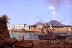 Joseph Rebell (1787-1828) The Mole at Portici (1818)  #19th #Classic #Joseph #Rebell #Painting #boat
