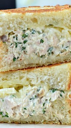Tuna, tarragon, and melted cheddar cheese wrapped in grilled sourdough take this Gourmet Tuna Melt to a whole new level. Tuna Recipes, Sandwich Recipes, Seafood Recipes, Cooking Recipes, Dinner Recipes, Snack Recipes, Healthy Meals To Cook, Healthy Diet Recipes, Tuna