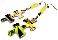Yellow and Green Puzzle and Jade Summer Earrings by MajaEarrings, $14.00