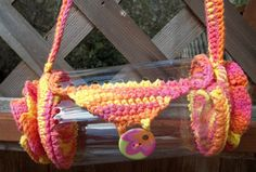 Girl - Teen Tropical Colors Barrel Purse   Up Cycled Recycled Plastic Bottle and Hand Crochet. $12.50, via Etsy.