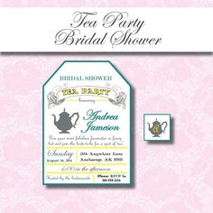 Tea Party Bridal Shower Invitation by FiftySixNorthDesigns on Etsy