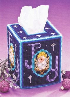 CHRISTMAS JOY TISSUE TOPPER Pattern PLASTIC CANVAS Box Cover