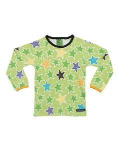 Villervalla - Green longsleeve shirt with colored stars - Pepatino.be