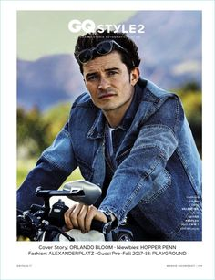Orlando Bloom covers the May/June 2017 issue of GQ Italia. Photographer Alexei Hay captures the English actor in Los Angeles, California. Riding a motorcyc
