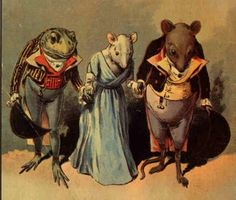 Froggy Went A-Courting. This is actually a satirical political song about the failed courtship of The Duke of Anjou and Queen Elizabeth I. she's the mouse. Frosch Illustration, Cute Illustration, Frog And Toad, Woodland Creatures, Vintage Ephemera, Pet Clothes, Art Sketchbook, Pet Birds, Illustrations Posters