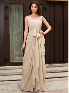A-Line/Princess V-neck Sweep Train Chiffon Evening Dress With Ruffle Lace Beading (022027057) - JJsHouse