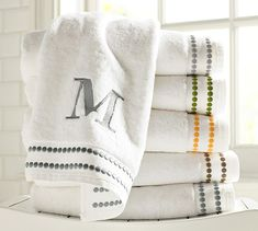 Pearl Embroidered 700-Gram Weight Bath Towels | Pottery Barn