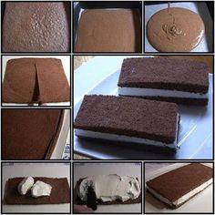 Per il biscuit  5 uova medie 15 gr di cacao amaro 15 gr di farina di nocciole  100 gr di farina manitoba 100 gr di zucchero 40 gr di burro (+ quello per spennellare) 1/2 bacca di vaniglia (o una bustina di vanillina)  q.b. di crema di cioccolato alle nocciole   Per la bagna: 4 cucchiai di liquore dolce (io ho usato il Passito di Pantelleria) 1/3 di bicchiere d'acqua  Per decorare: Nocciole   Preparare 3 fogli di carta forno della dimensione della teglia.Scaldare in un tegame poca acqua