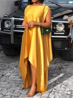 Material: Polyester Silhouette: Asymmetrical Dress Length: Floor-Length Sleeve Length: Short S. African Maxi Dresses, Latest African Fashion Dresses, African Print Fashion, African Attire, Ankara Dress Styles, African Wear, Simple Dresses, Casual Dresses, Awesome Dresses