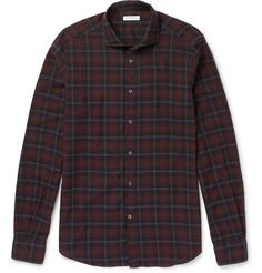 <a href='http://www.mrporter.com/mens/Designers/Boglioli'>Boglioli</a>'s shirt is cut from plaid cotton that's brushed for a soft handle. The rich burgundy, navy and blue hues ensure this staple piece will work well with countless off-duty outfits. Remove the optional stays from the sharp spread collar for a more relaxed feel.