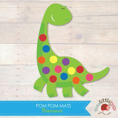 Dinosaur Pom Pom Mats by Busy Little Bugs Toddler Art, Toddler Crafts, Pom Pom Mat, Finger Gym, Preschool Activities, Dinosaur Stuffed Animal, Learning, Bugs, Child Care