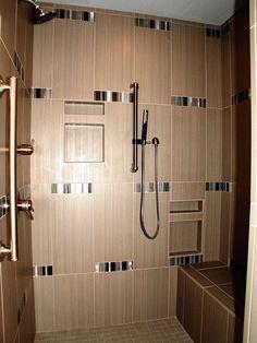 #Shower #TiledShower #HandHeldShower #ShowerBench