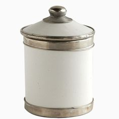 Moroccan Tadelakt Ceramic Canister with Silver Trim