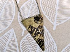 Long Necklace REVERSIBLE Triangle with Dark Side of the Moon / Pine Tree Print on Antique Raw Brass - SALE - see Listing for Coupon Codes......