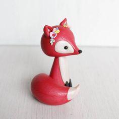 Red Fox clay figurine boho style fox sculpture red fox